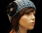 Blue Hat Black Flower
