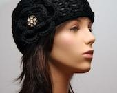 Black  Hat with Large Vintage Sparkle Button