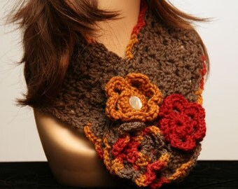 Taupe Scarf with Fall Print