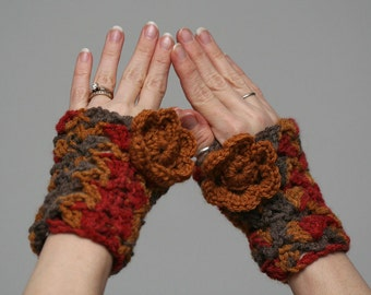 Fall Print Finerless Gloves