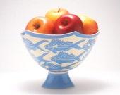 Blue Yellowtail Pedestal Bowl