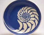 Navy Blue Chambered Nautilus Pasta Bowl