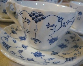 Set of 2 Blue and White Teacups and Saucers