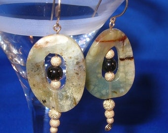 Classic Green Jade and Smoky Quartz 14kt Gold-Filled Hand Sculpted Wire Earrings