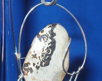 Gray Paintbrush Jasper Sterling Silver Hand Sculpted Wire Pendant