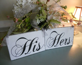 Distressed His and Hers Wedding Signs....You Choose the color ribbon:)
