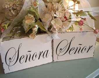 Senor and Senora Spanish Wedding Day Chair Signs..