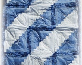 Fresh Air Blue and White Log Cabin Quilt, Northcott Cotton -- Handmade with Love