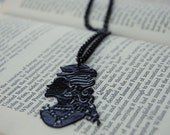 Anne Silhouette Necklace-lacquered, victorian inspired papercut design
