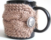 Taupe Cabled Cup Cozy, Tea Mug Sleeve
