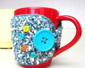 Clearance / Half Price / Buttoned Cup Cozy, Tea Mug Sleeve