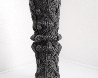 Clearance / Half Price / Dark Gray Wool Dotted Leg-warmers - Ready to Ship