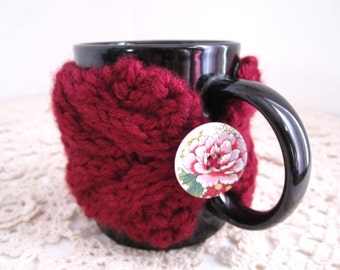 Clearance / Half Price / Wine-Colored Cabled Cup Cozy, Tea Mug Sleeve - Ready to Ship