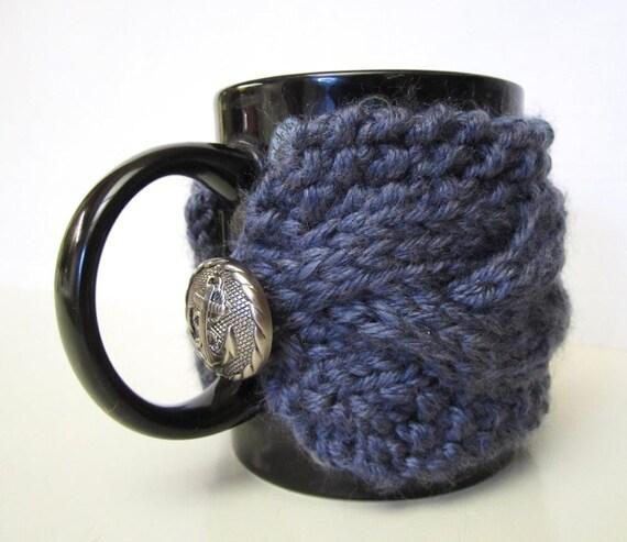 Clearance / Half Price / Mist Heather Cable Cup Cozy, Tea Mug Sleeve