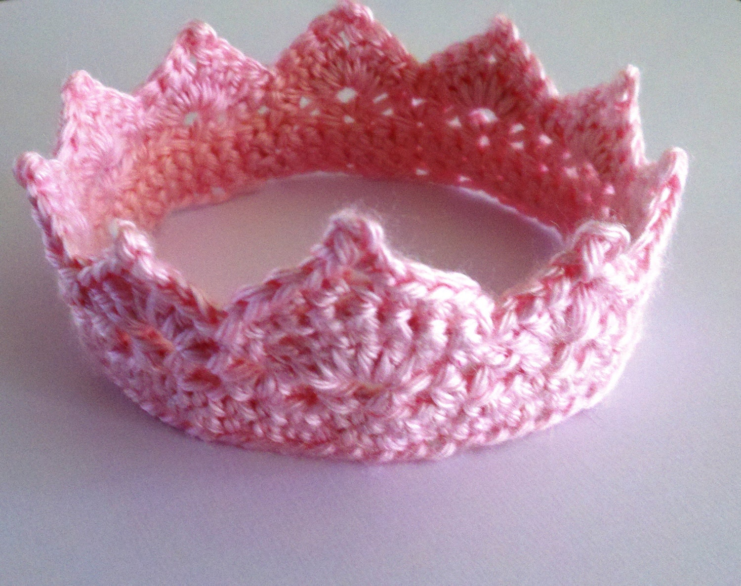 Crochet Baby Crown Headband Pattern : Crochet Photo Prop Newborn Princess Crown