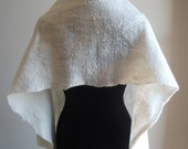 Handfelted Cream Merino wool and Mulberry Silk Wrap 'Shimmer'