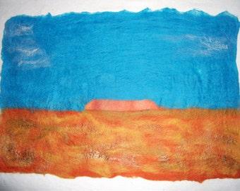 Handfelted Landscape Wallhanging 'Uluru'