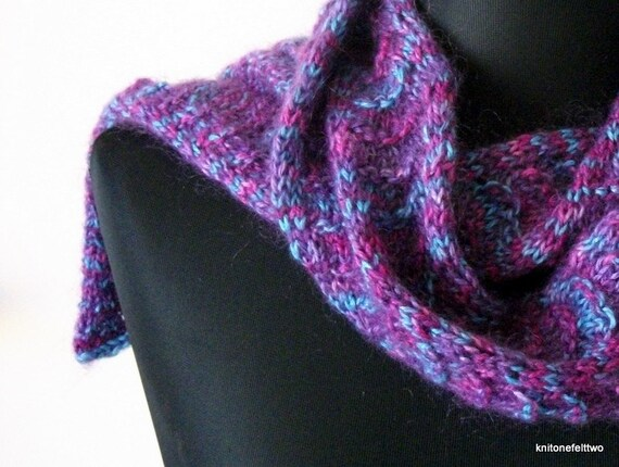 SHANNONS CUSTOM LISTING :Blue & Purple Feathered Lace Knit Scarf