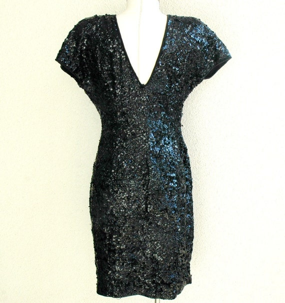 RESERVED for jigglysteph --Vtg Carmen Marc Valvo Sequined Dress- M/L