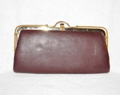 1960s Brown Leather Clutch with Gold Ornate Embellishment at Top