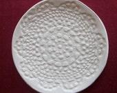 Creamy white lace ceramic dish