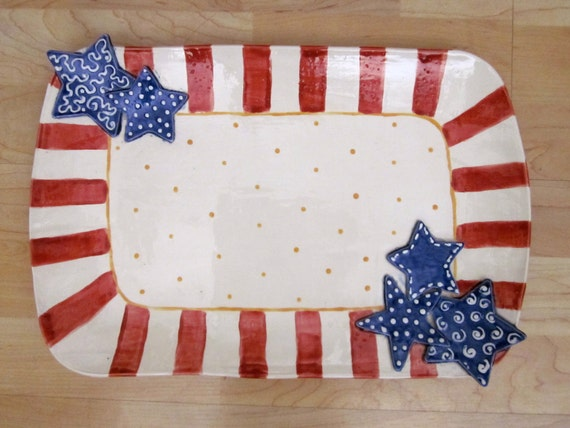 Large rectangular Patriotic Serving Platter
