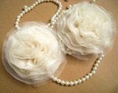2 PCS Ivory Chiffon and Tull Flower for Bridal,Headband,wedding gift,Brooch.