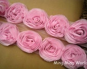 Light  Pink Chiffon Rose Lace for Costume Design or Handmade, Headband Design.