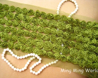 Chiffon Rose Lace -6 Row Olive  Chiffon 3D Rose Lace Applique Trim (C28)