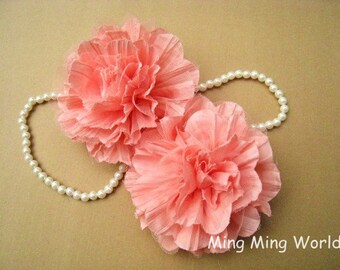 2 PCS LightSalmon Chiffon and Tulle Flower for Bridal,Headband,wedding gift,Brooch.(F6)