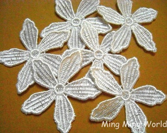 Applique Lace Trim,White Flowers Appliques Lace,Vintage Lace for Costume Desige,Headband,Bridal 10 pcs (A10)