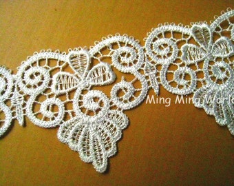 Venice Lace Trim-2 Yards Ivory Clover Lace Applique (L121)