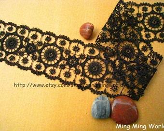 Black Lace Trim -2 Yards Black Aulic Features Lace Trim(L396)