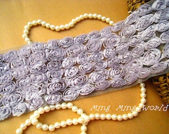Short Design Chiffon Rose Lace Trim -6 Row Grey Chiffon Roses Lace Applique (C39)