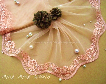 Embroiderey Lace Trim - 3 Yards Peach Lovely Flower Lace Trim(L414)