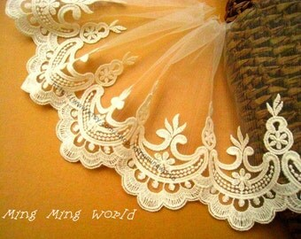 Embroidered Lace Trim - 2 Yards Light Beige Aulic Features Lace Trim(L358)