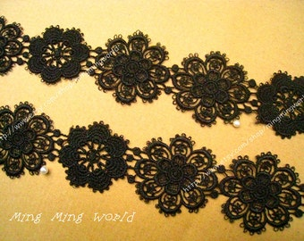 Black Venice Lace Trim -2 yards Black Irregular Flower Lace Trim(L363)
