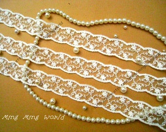 Cotton Embroidered Lace Trim- 4 Yards Ivory CirrusFlower Lace (L78)