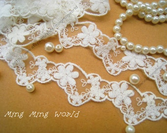 Cotton Embroidered Lace Trim -3 Yards Ivory Irregular Flowers Lace(L326)