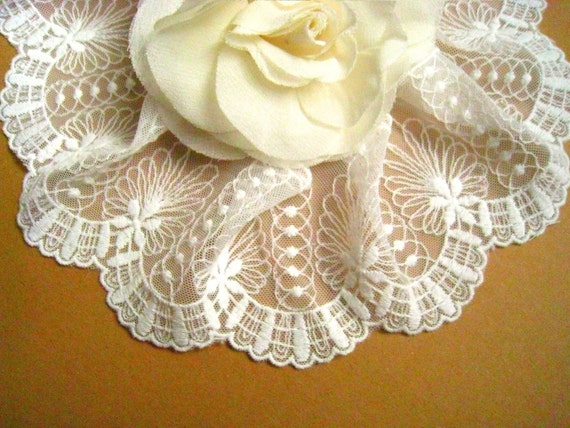 Cotton Embroidery Lace -2 Yards Ivory Aulic Features Lace Applique Trim