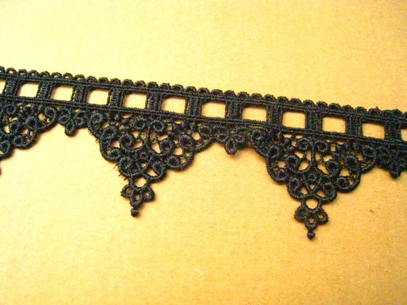 2 yards Black Aulic Features Lace Trim For Custom dress,Wedding gift or Embellish accessories (L117)
