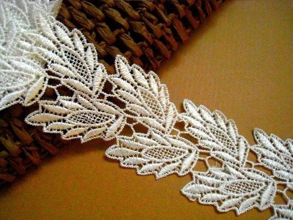 Venice Lace Trim -1 Yard Ivory Leaf Lace Applique For Custom dress,Embellish accessories (L119)