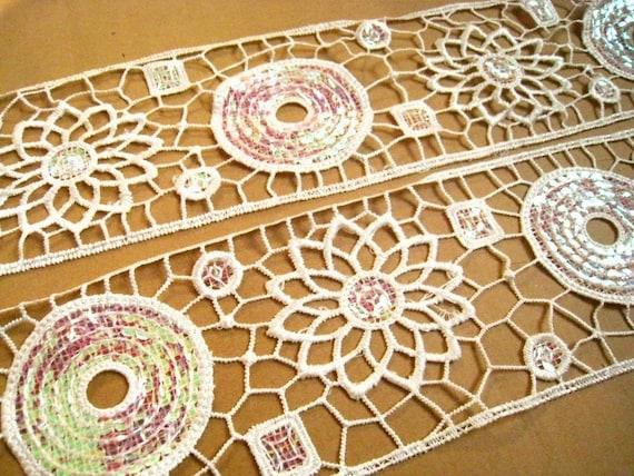 Venice Ivoey Lace Trim -1 Yard Ivory Flower and Circle Sequin Lace Applique Trim