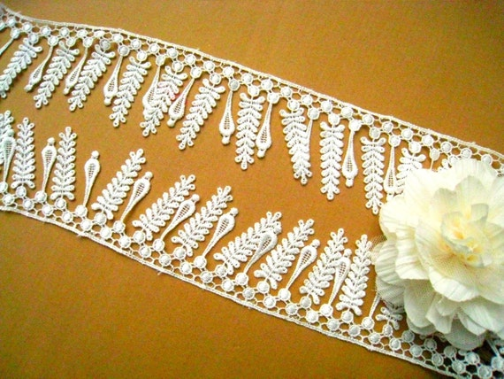 Venice Lace Trim- 1.5 Yards Ivory LeavesTassels Lace For Wedding dress,Costume Design