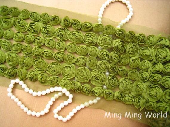 Chiffon Rose Lace -6 Row Olive  Chiffon 3D Rose Lace Applique Trim (C28)