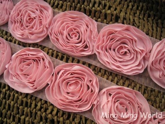 Chiffon Rose Lace Trim -2 Yards Two-Tier Pink Chiffon Rose Lace (C11)