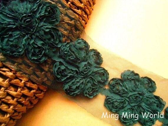 Dried Herb Chiffon Lace Trim  -1 Yard  Chiffon 3D Flowers Lace Applique Trim (C37)