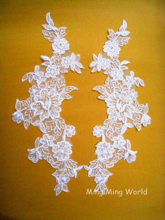 Organza Applique Lace -1 Pair White Flower Applique Lace For Custom dress(A47)