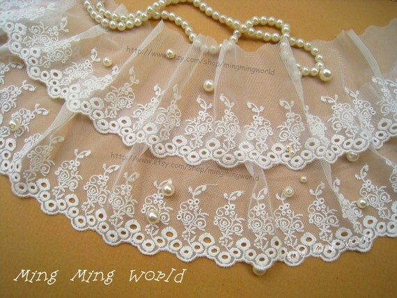 Cotton Embroidered Lace Trim -3 Yards Ivory Rose Hollow-out Lace(L336)