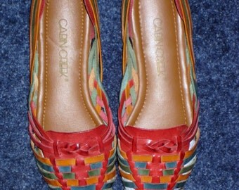 SALE  Vintage Cabin Creek Shoes Spring Summer Red Green Cognac Lovely Size 8 1/2